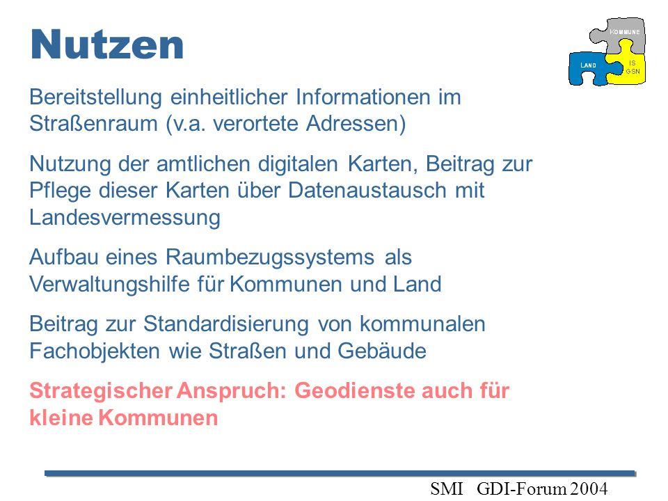 Nutzen Bereitstellung einheitlicher Informationen im Straßenraum (v.a. verortete Adressen) Nutzung der amtlichen digitalen Karten, Beitrag zur Pflege
