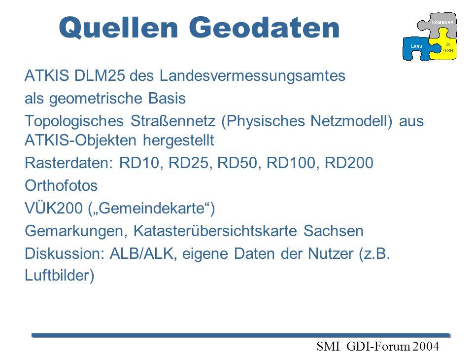 Quellen Geodaten ATKIS DLM25 des Landesvermessungsamtes als geometrische Basis Topologisches Straßennetz (Physisches Netzmodell) aus ATKIS-Objekten he