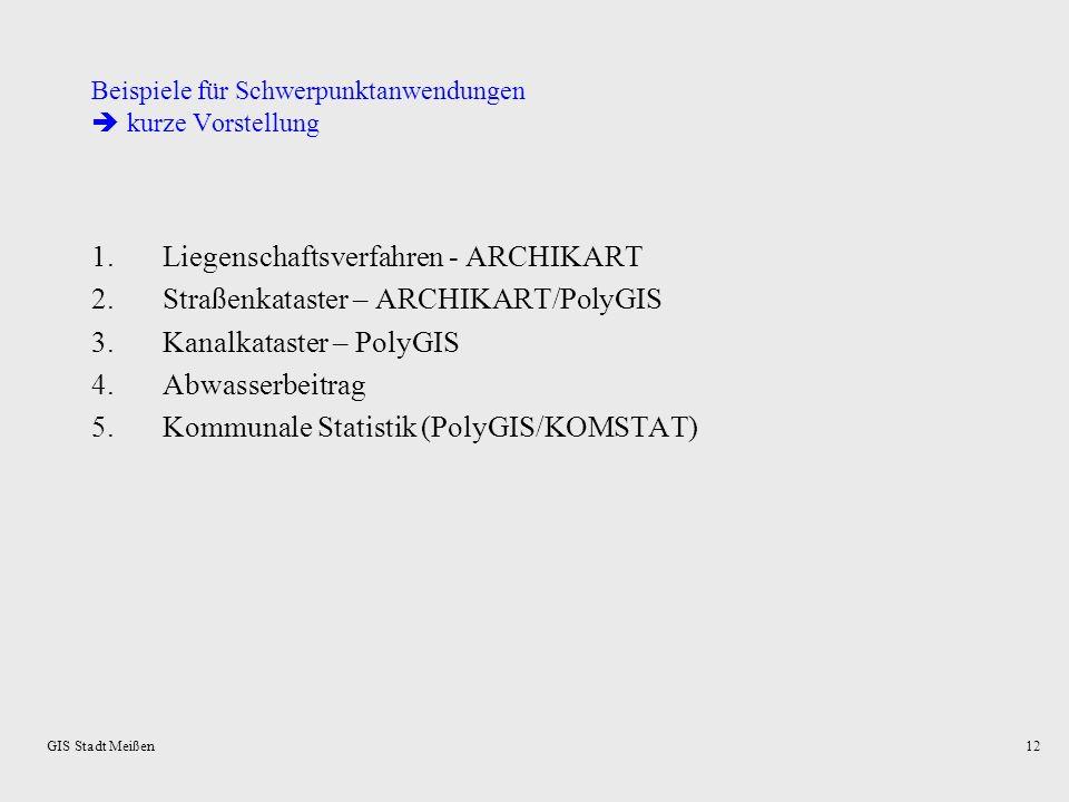 GIS Stadt Meißen11 GIS: Datenpflege – Quellen und Verantwortlichkeiten Graphischer DatenbestandLaufendhaltung Blockkarte/Kleinräumige Gliederung:Eigen
