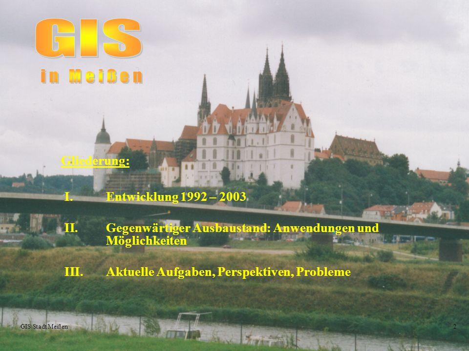 2 Gliederung: I.Entwicklung 1992 – 2003 II.Gegenwärtiger Ausbaustand: Anwendungen und Möglichkeiten III.Aktuelle Aufgaben, Perspektiven, Probleme