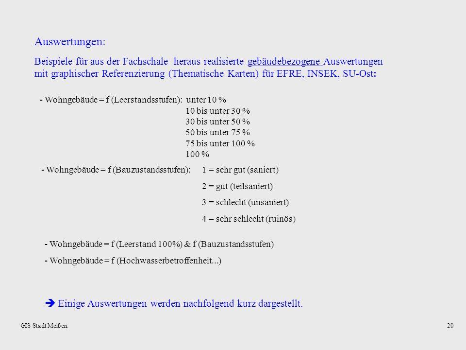 GIS Stadt Meißen19 Grundlage: TGS (Territorialer Grundschlüssel – DDR) und Empfehlungen des Deutschen Städtetages Aufbau: RegionalerOrdnungsSchlüssel
