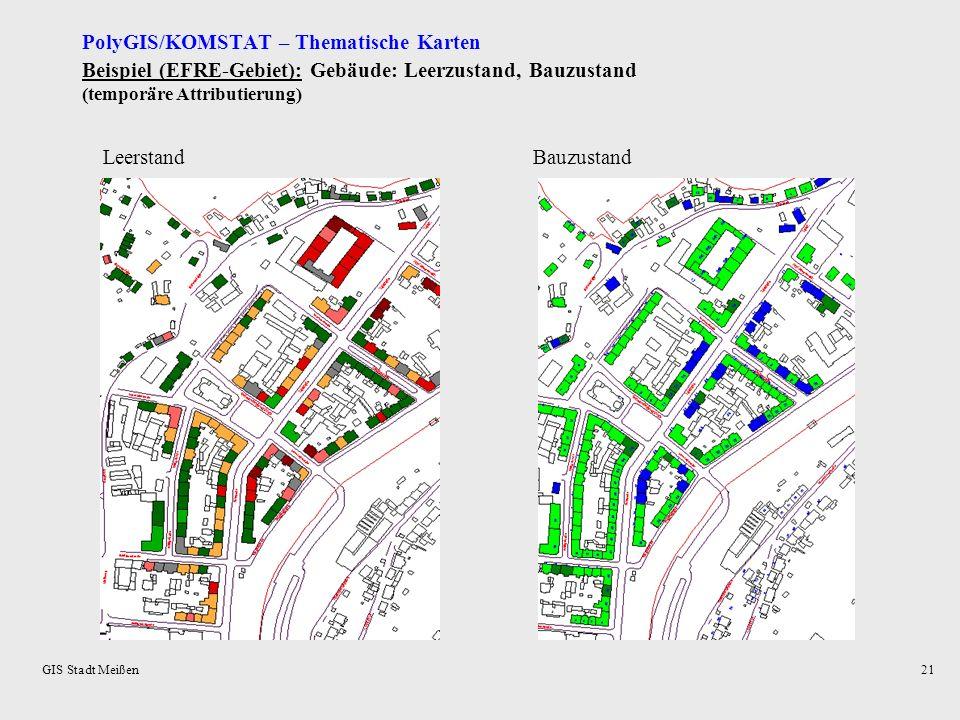 GIS Stadt Meißen20 Auswertungen: - Wohngebäude = f (Leerstandsstufen): unter 10 % 10 bis unter 30 % 30 bis unter 50 % 50 bis unter 75 % 75 bis unter 1