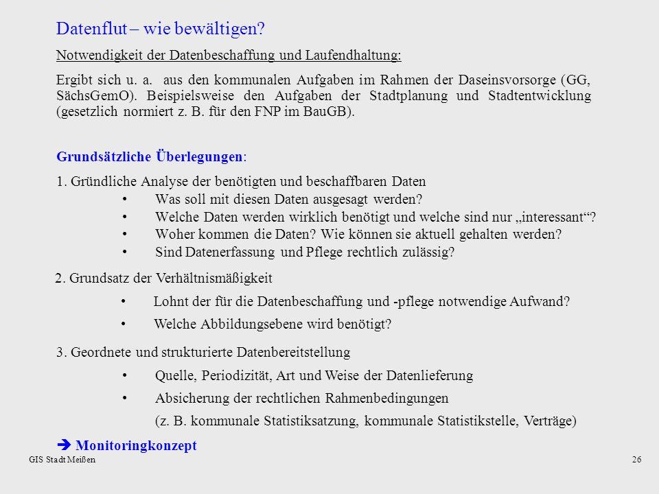 GIS Stadt Meißen25 KOMSTAT: Verwaltung der Hochwasserdaten je Gebäude Ermittlung der vom Hochwasser beschädigten Gebäude aus Überlagerung Hochwasserfl