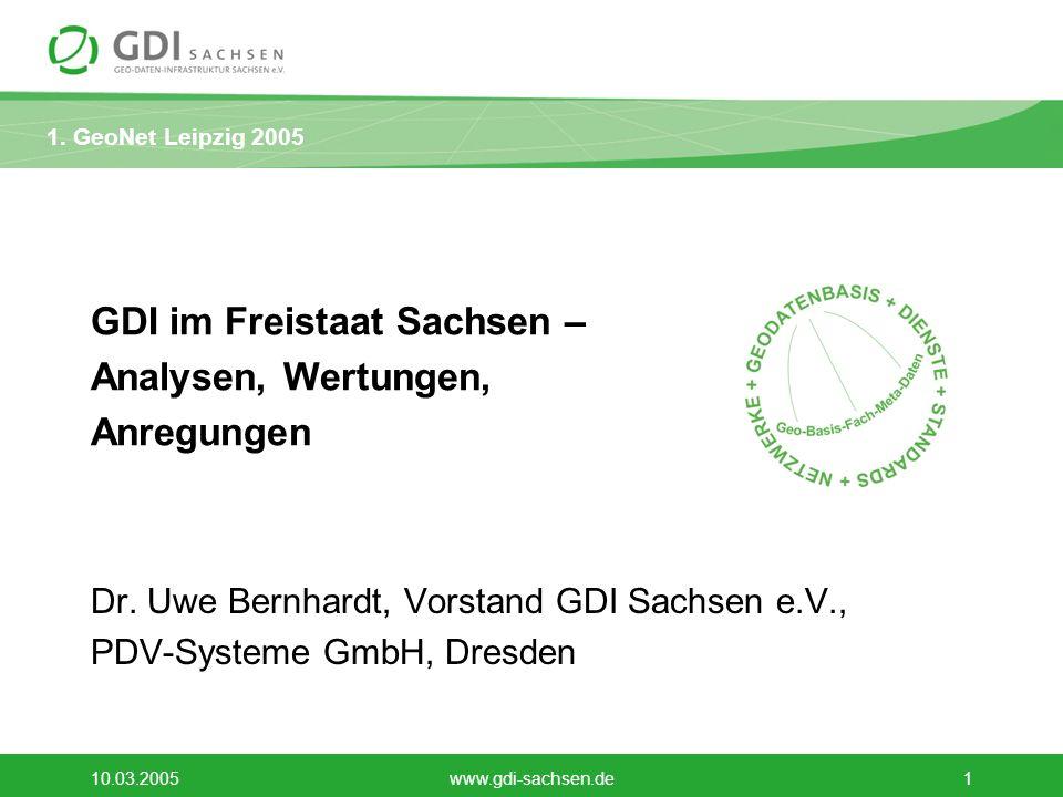 1. GeoNet Leipzig 2005 10.03.2005www.gdi-sachsen.de1 GDI im Freistaat Sachsen – Analysen, Wertungen, Anregungen Dr. Uwe Bernhardt, Vorstand GDI Sachse