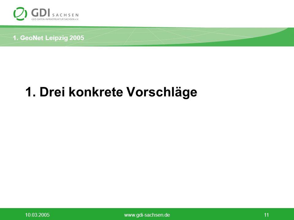 1. GeoNet Leipzig 2005 10.03.2005www.gdi-sachsen.de11 1. Drei konkrete Vorschläge