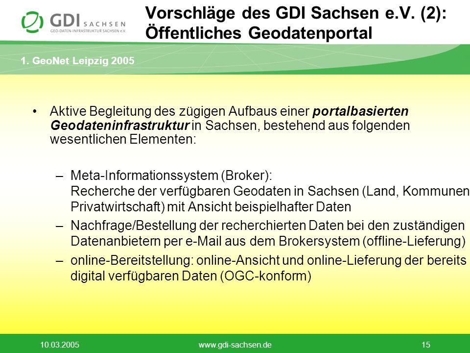 1. GeoNet Leipzig 2005 10.03.2005www.gdi-sachsen.de15 Vorschläge des GDI Sachsen e.V. (2): Öffentliches Geodatenportal Aktive Begleitung des zügigen A