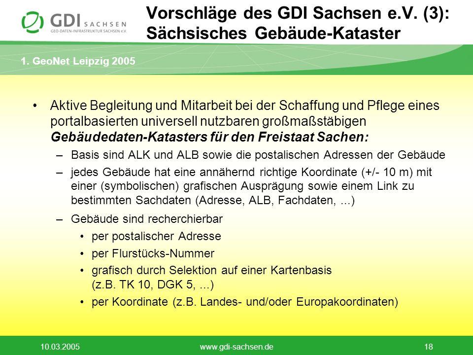 1. GeoNet Leipzig 2005 10.03.2005www.gdi-sachsen.de18 Vorschläge des GDI Sachsen e.V. (3): Sächsisches Gebäude-Kataster Aktive Begleitung und Mitarbei