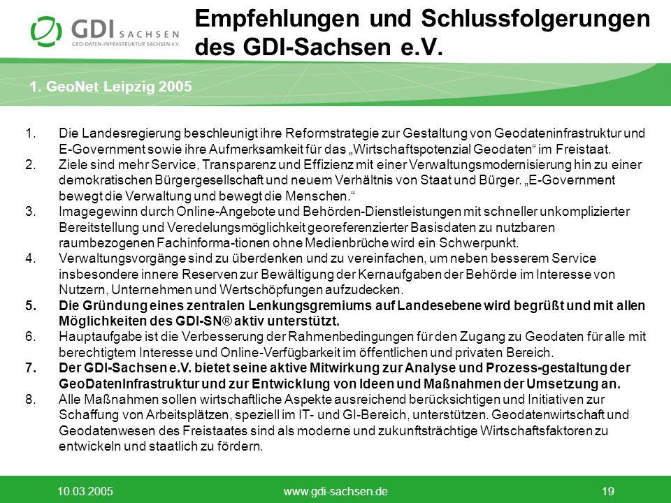 1. GeoNet Leipzig 2005 10.03.2005www.gdi-sachsen.de19 Empfehlungen und Schlussfolgerungen des GDI-Sachsen e.V. 1.Die Landesregierung beschleunigt ihre