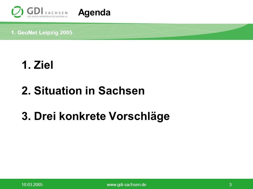 1. GeoNet Leipzig 2005 10.03.2005www.gdi-sachsen.de3 Agenda 1. Ziel 2. Situation in Sachsen 3. Drei konkrete Vorschläge