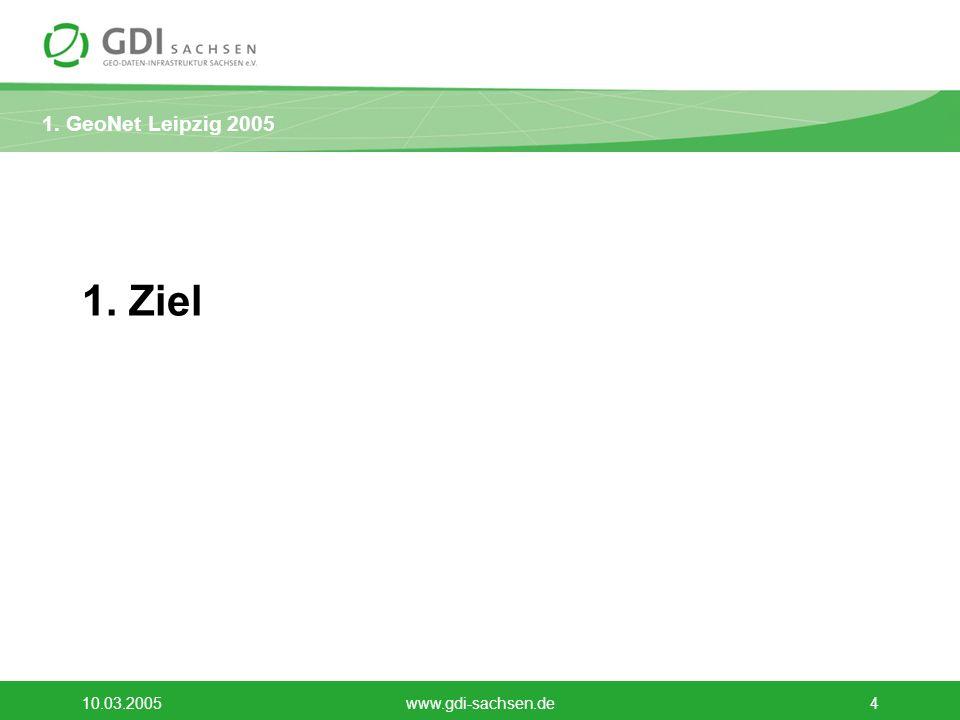 1.GeoNet Leipzig 2005 10.03.2005www.gdi-sachsen.de15 Vorschläge des GDI Sachsen e.V.