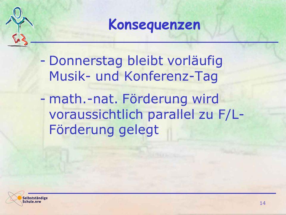 14 Konsequenzen -Donnerstag bleibt vorläufig Musik- und Konferenz-Tag -math.-nat. Förderung wird voraussichtlich parallel zu F/L- Förderung gelegt