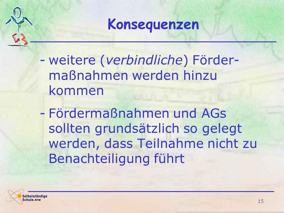15 Konsequenzen -weitere (verbindliche) Förder- maßnahmen werden hinzu kommen -Fördermaßnahmen und AGs sollten grundsätzlich so gelegt werden, dass Te