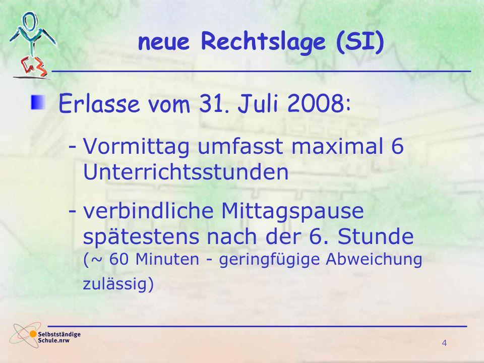 4 neue Rechtslage (SI) Erlasse vom 31. Juli 2008: -Vormittag umfasst maximal 6 Unterrichtsstunden -verbindliche Mittagspause spätestens nach der 6. St