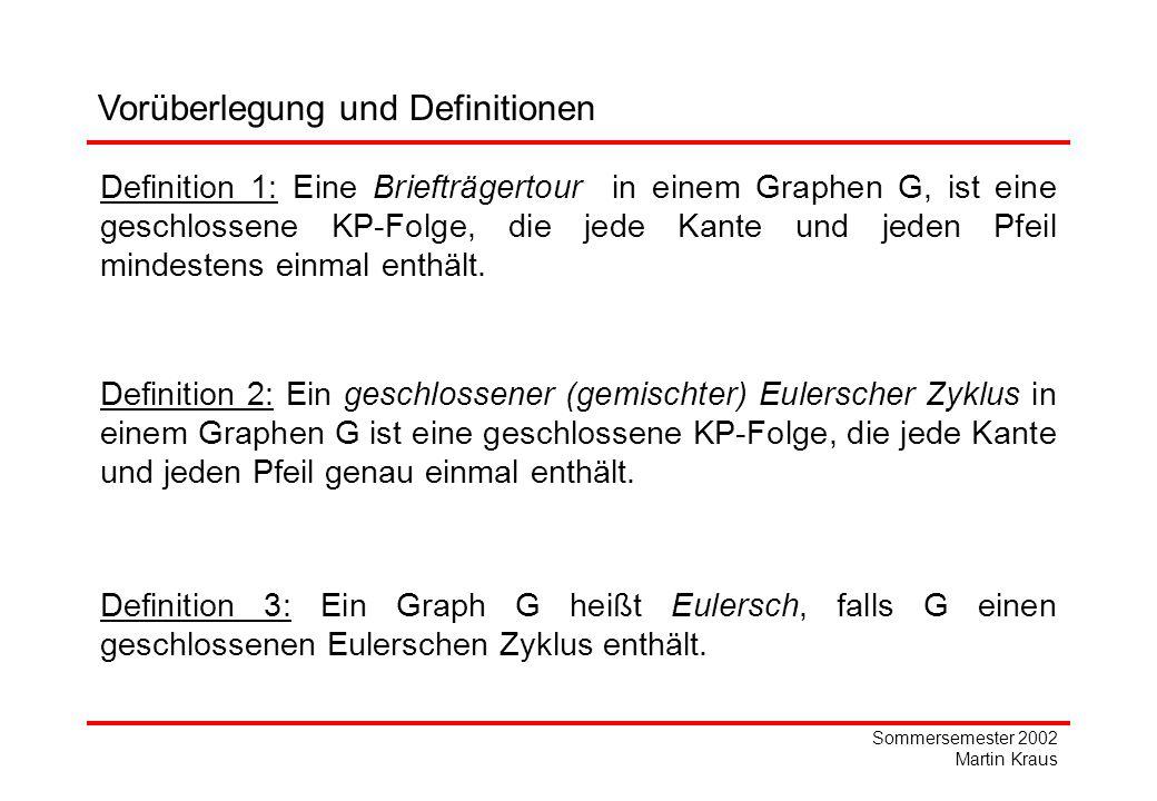 Sommersemester 2002 Martin Kraus Vorüberlegung und Definitionen Definition 1: Eine Briefträgertour in einem Graphen G, ist eine geschlossene KP-Folge, die jede Kante und jeden Pfeil mindestens einmal enthält.