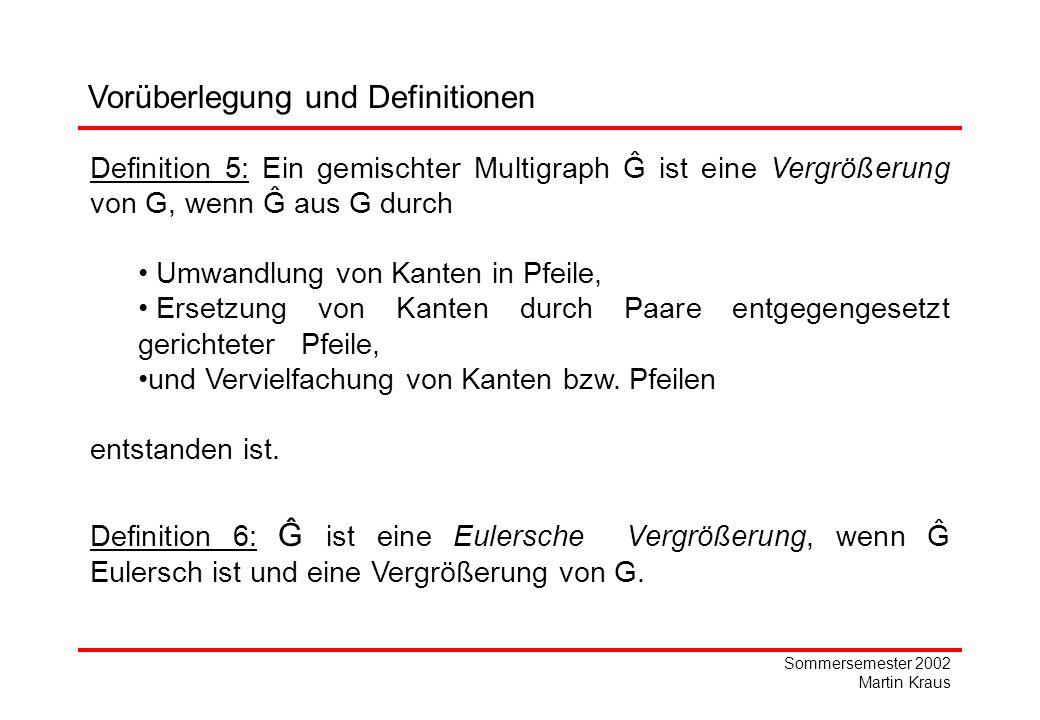 Sommersemester 2002 Martin Kraus Vorüberlegung und Definitionen Definition 5: Ein gemischter Multigraph Ĝ ist eine Vergrößerung von G, wenn Ĝ aus G durch Umwandlung von Kanten in Pfeile, Ersetzung von Kanten durch Paare entgegengesetzt gerichteter Pfeile, und Vervielfachung von Kanten bzw.