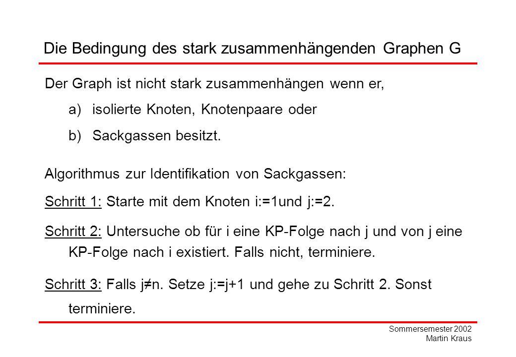 Sommersemester 2002 Martin Kraus Die Bedingung des stark zusammenhängenden Graphen G Der Graph ist nicht stark zusammenhängen wenn er, a)isolierte Knoten, Knotenpaare oder b)Sackgassen besitzt.