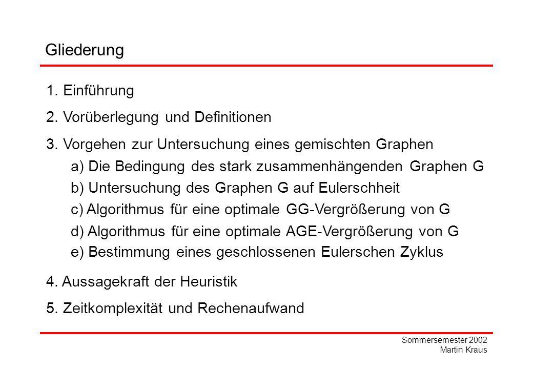 Sommersemester 2002 Martin Kraus 2 45 8 1 Untersuchung des Graphen G nach Möglichkeit 2 Erster Schritt: AGE- Vergrößerung Zweiter Schritt: GG- Vergrößerung 2 6 1 2,5 2 Beispiel: Aussagekraft der Heuristik