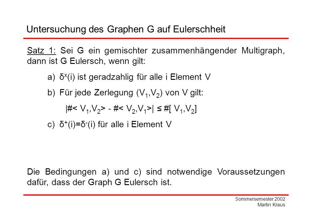 Sommersemester 2002 Martin Kraus Untersuchung des Graphen G auf Eulerschheit Satz 1: Sei G ein gemischter zusammenhängender Multigraph, dann ist G Eulersch, wenn gilt: a)δ x (i) ist geradzahlig für alle i Element V b)Für jede Zerlegung (V 1,V 2 ) von V gilt: |# - # | #[ V 1,V 2 ] c)δ + (i)=δ - (i) für alle i Element V Die Bedingungen a) und c) sind notwendige Voraussetzungen dafür, dass der Graph G Eulersch ist.