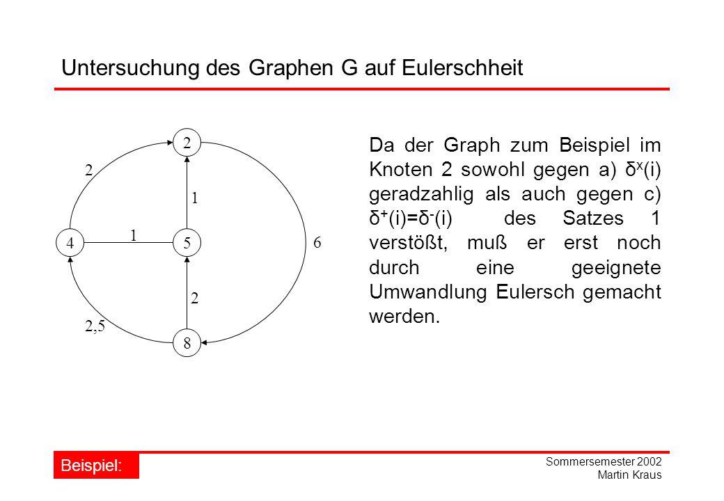 Sommersemester 2002 Martin Kraus Untersuchung des Graphen G auf Eulerschheit 2 45 8 1 2 6 1 2,5 2 Da der Graph zum Beispiel im Knoten 2 sowohl gegen a) δ x (i) geradzahlig als auch gegen c) δ + (i)=δ - (i) des Satzes 1 verstößt, muß er erst noch durch eine geeignete Umwandlung Eulersch gemacht werden.