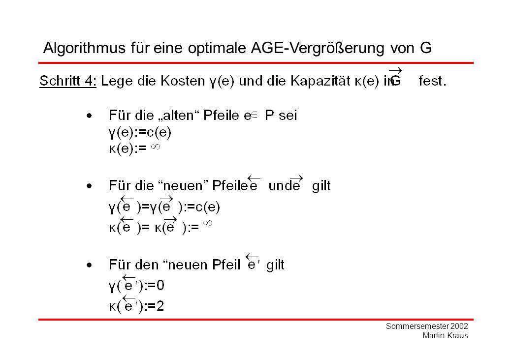 Sommersemester 2002 Martin Kraus Algorithmus für eine optimale AGE-Vergrößerung von G