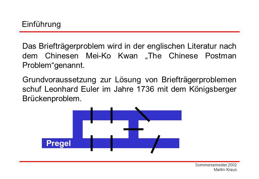 Sommersemester 2002 Martin Kraus Vorüberlegung und Definitionen Definition 7: Eine optimale Eulersche Vergrößerung Ĝ von G ist eine Vergrößerung von G und hat unter allen möglichen Vergrößerungen von G die kleinste Summe der Bewertungen der hinzugefügten Kanten und Pfeile.