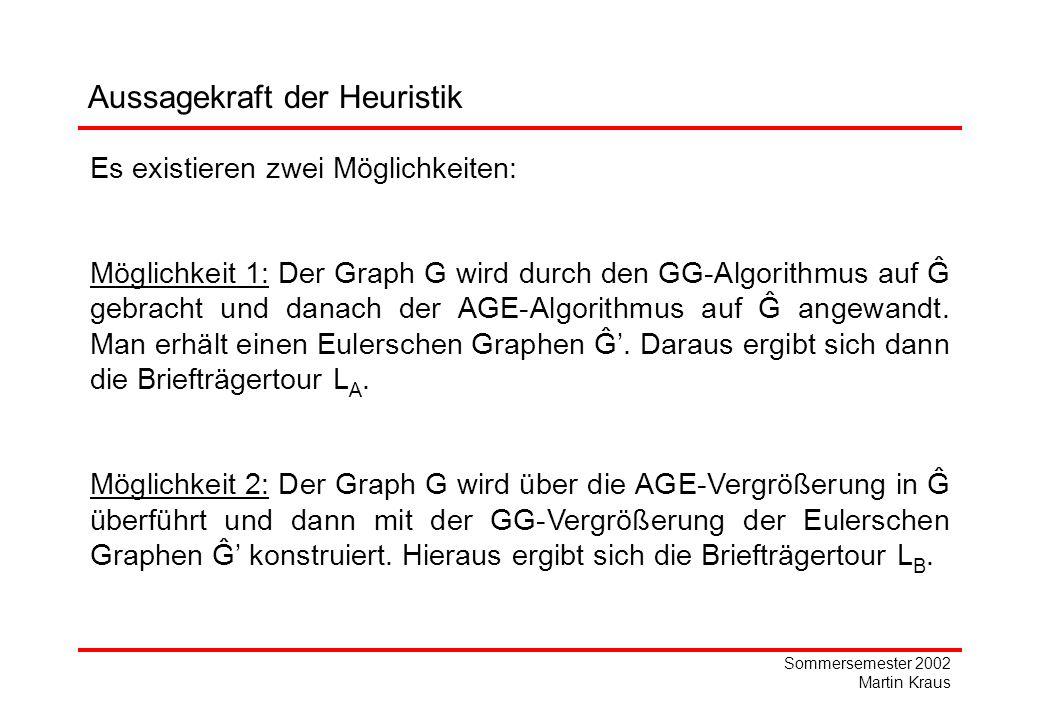 Sommersemester 2002 Martin Kraus Es existieren zwei Möglichkeiten: Möglichkeit 1: Der Graph G wird durch den GG-Algorithmus auf Ĝ gebracht und danach der AGE-Algorithmus auf Ĝ angewandt.