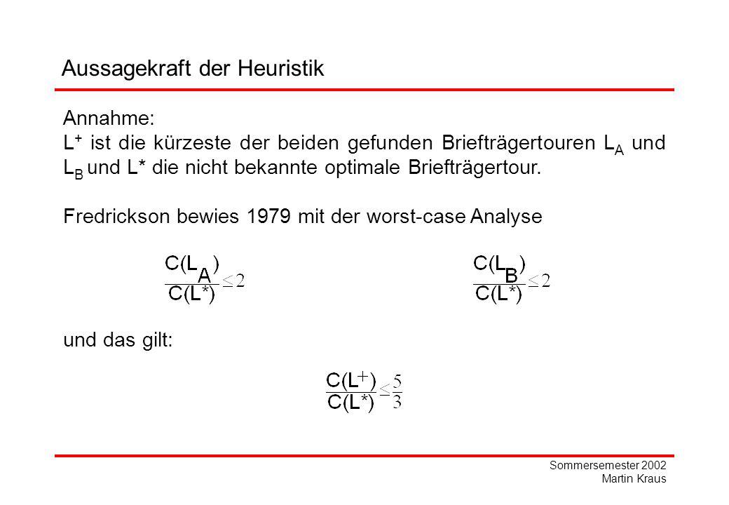 Sommersemester 2002 Martin Kraus Aussagekraft der Heuristik Annahme: L + ist die kürzeste der beiden gefunden Briefträgertouren L A und L B u nd L* die nicht bekannte optimale Briefträgertour.