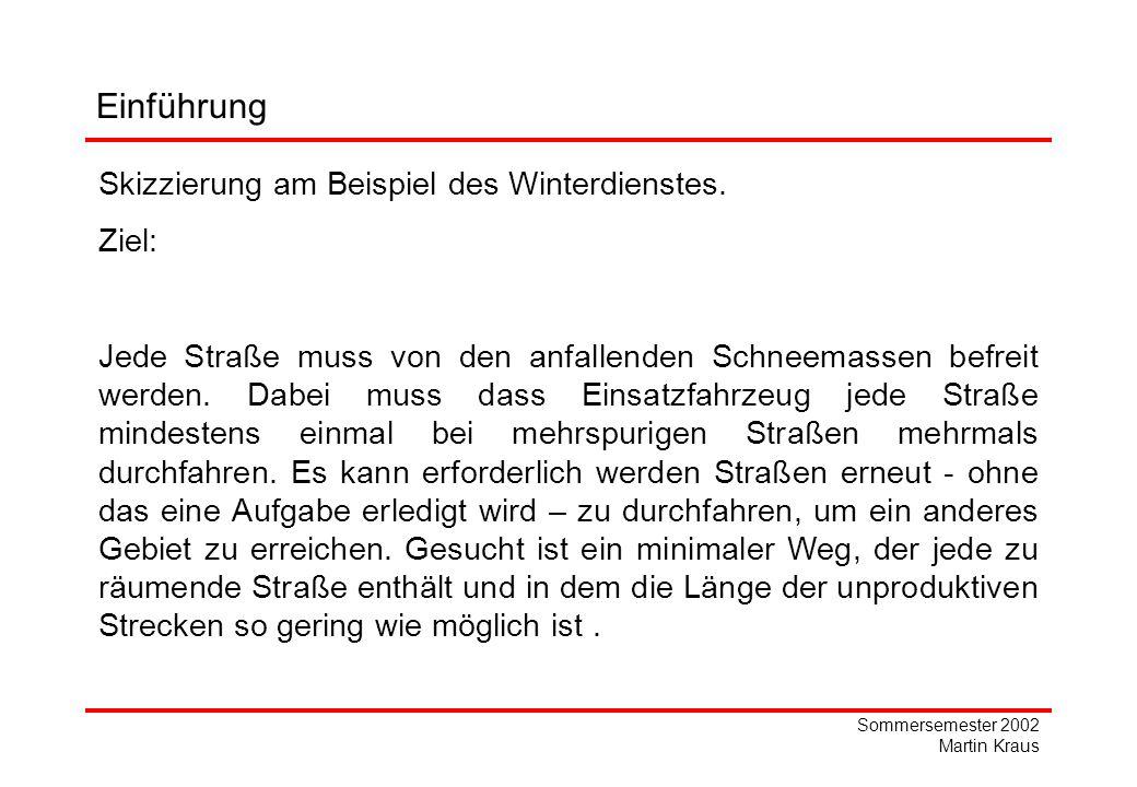 Sommersemester 2002 Martin Kraus 2 45 8 1 Bestimmung eines geschlossenen Eulerschen Zyklus L= Mit den Gesamtkosten C(L)=21,5 2 6 1 2,5 2 Beispiel: 6 1 Aussagekraft der Heuristik