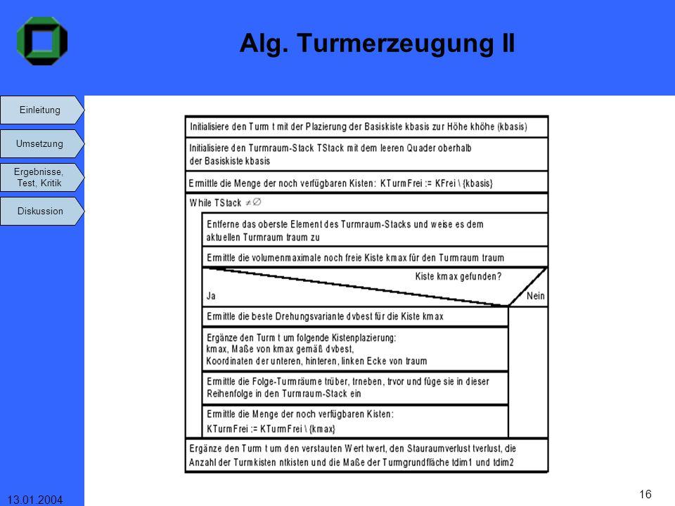 Einleitung Umsetzung Ergebnisse, Test, Kritik Diskussion 13.01.2004 16 Alg. Turmerzeugung II