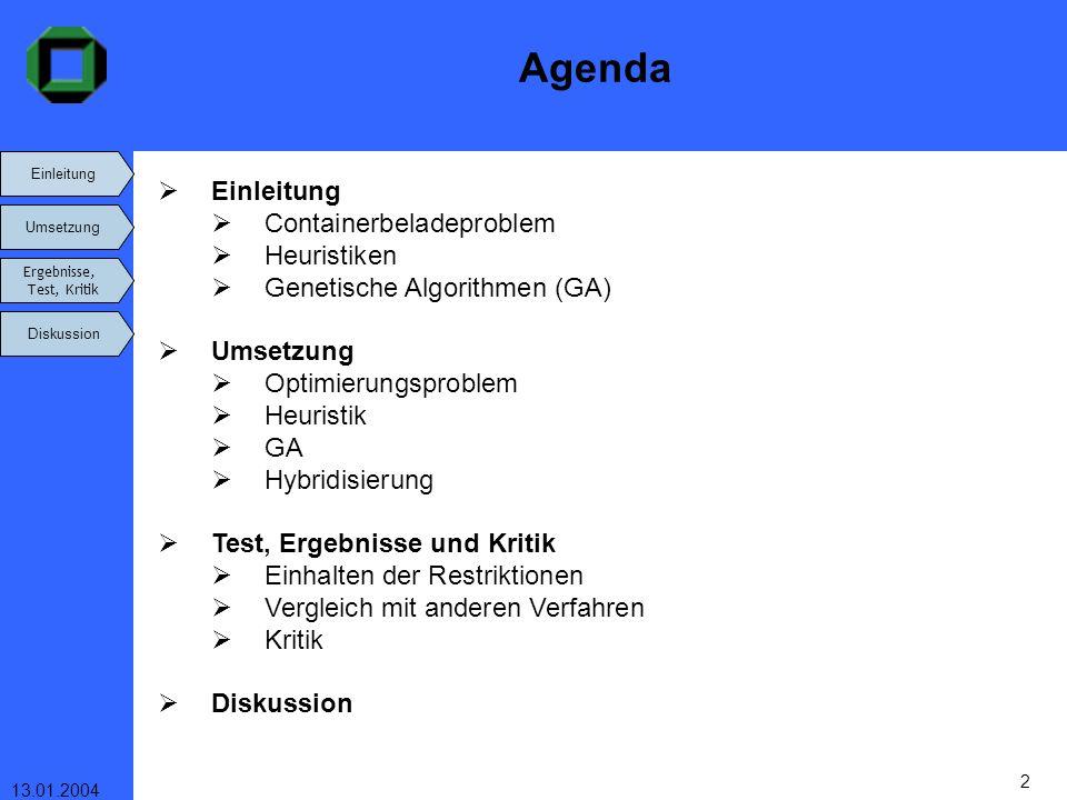 Einleitung Umsetzung Ergebnisse, Test, Kritik Diskussion 13.01.2004 2 Einleitung Umsetzung Ergebnisse, Test, Kritik Diskussion Agenda Einleitung Conta