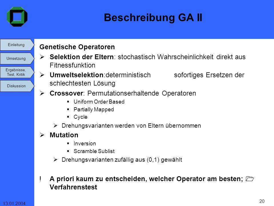 Einleitung Umsetzung Ergebnisse, Test, Kritik Diskussion 13.01.2004 20 Beschreibung GA II Genetische Operatoren Selektion der Eltern: stochastisch Wah