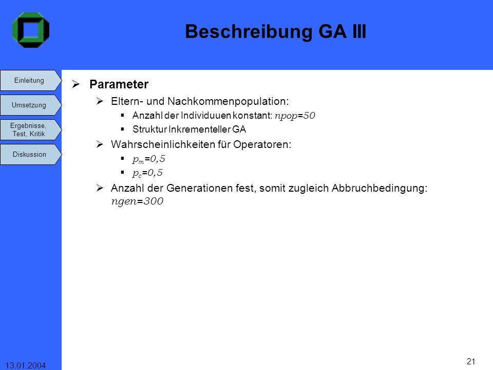 Einleitung Umsetzung Ergebnisse, Test, Kritik Diskussion 13.01.2004 21 Beschreibung GA III Parameter Eltern- und Nachkommenpopulation: Anzahl der Indi