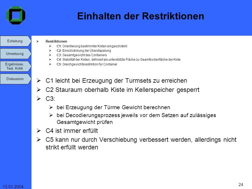 Einleitung Umsetzung Ergebnisse, Test, Kritik Diskussion 13.01.2004 24 Einhalten der Restriktionen Restriktionen C1: Orientierung bestimmter Kisten ei