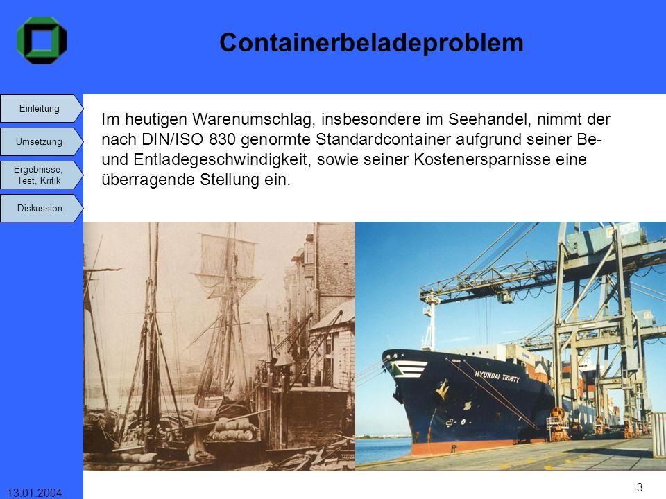 Einleitung Umsetzung Ergebnisse, Test, Kritik Diskussion 13.01.2004 3 Containerbeladeproblem Im heutigen Warenumschlag, insbesondere im Seehandel, nim
