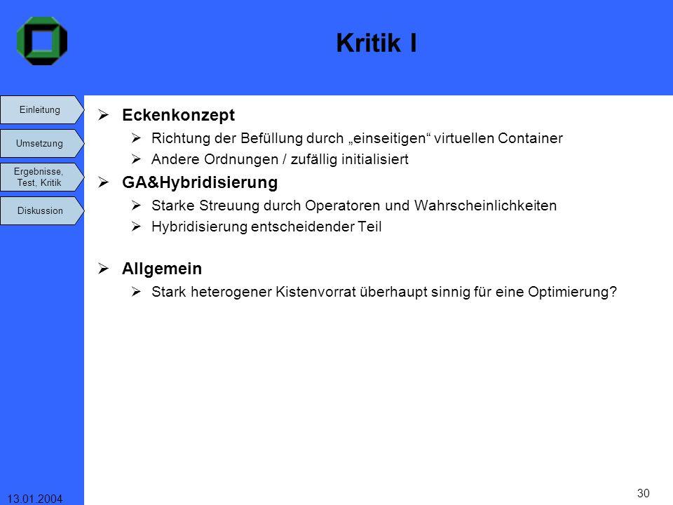 Einleitung Umsetzung Ergebnisse, Test, Kritik Diskussion 13.01.2004 30 Kritik I Eckenkonzept Richtung der Befüllung durch einseitigen virtuellen Conta