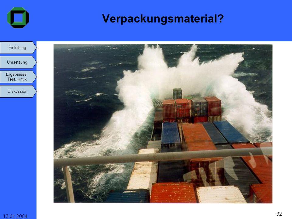 Einleitung Umsetzung Ergebnisse, Test, Kritik Diskussion 13.01.2004 32 Verpackungsmaterial?