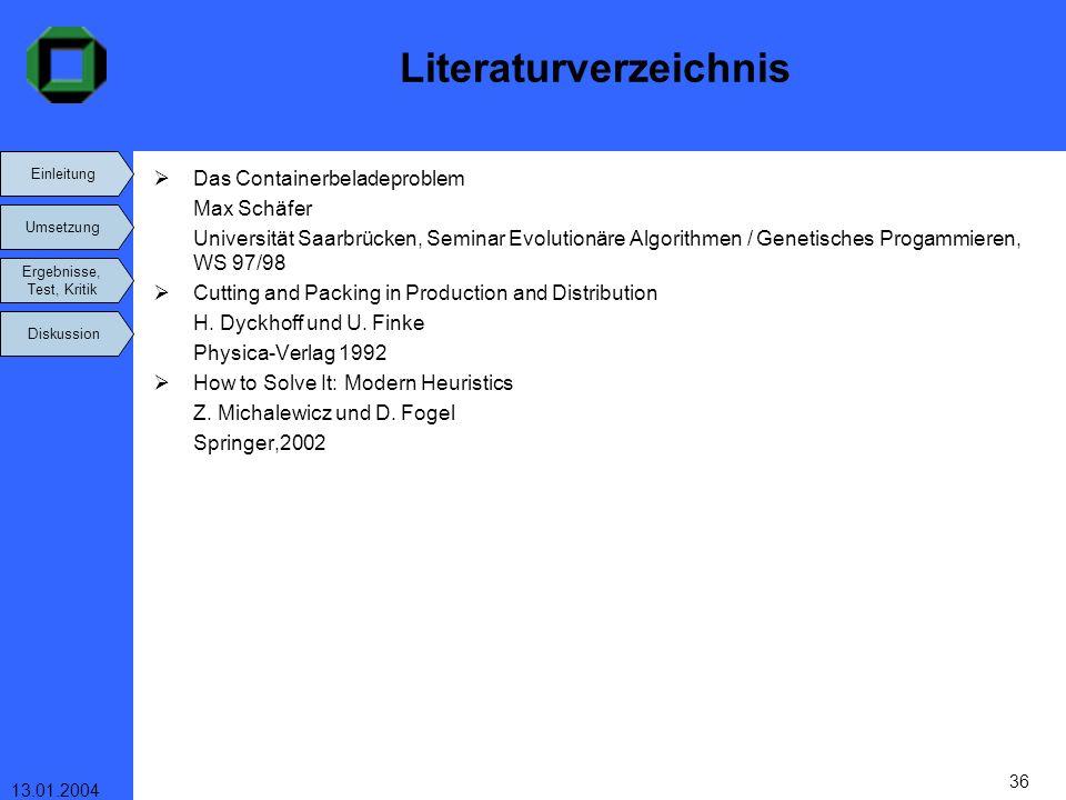 Einleitung Umsetzung Ergebnisse, Test, Kritik Diskussion 13.01.2004 36 Literaturverzeichnis Das Containerbeladeproblem Max Schäfer Universität Saarbrü
