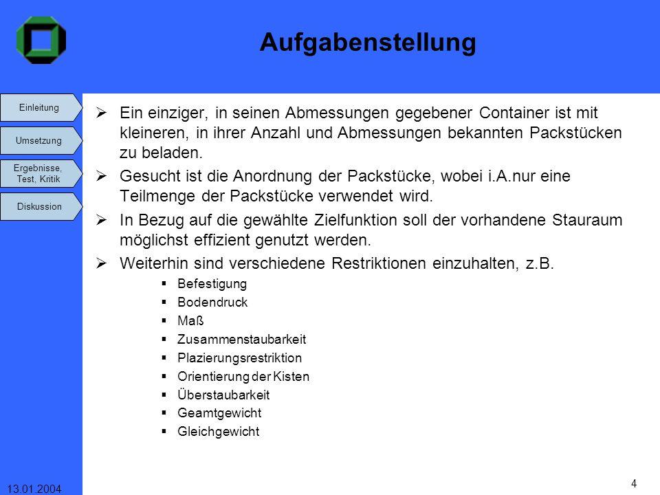 Einleitung Umsetzung Ergebnisse, Test, Kritik Diskussion 13.01.2004 4 Aufgabenstellung Ein einziger, in seinen Abmessungen gegebener Container ist mit
