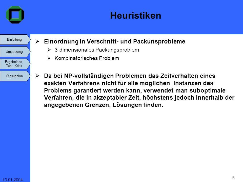 Einleitung Umsetzung Ergebnisse, Test, Kritik Diskussion 13.01.2004 5 Heuristiken Einordnung in Verschnitt- und Packunsprobleme 3-dimensionales Packun