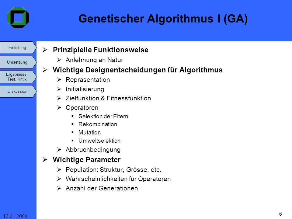 Einleitung Umsetzung Ergebnisse, Test, Kritik Diskussion 13.01.2004 27 Vergleich zu anderen Autoren: LOH&NEE(92) 15 eigene Probleme Mass für Auslastung auf Basis Frachtrate im Mittel der Beste (Maß!?) GA findet 13 Optima, Loh&Nee 11 NGOI(94) BISCHOFF&RATCLIFF(95) 15 Testfälle zu je 100 numerischen Beispielen Algorithmus für schwach heterogene Kisten GA besser v.a.