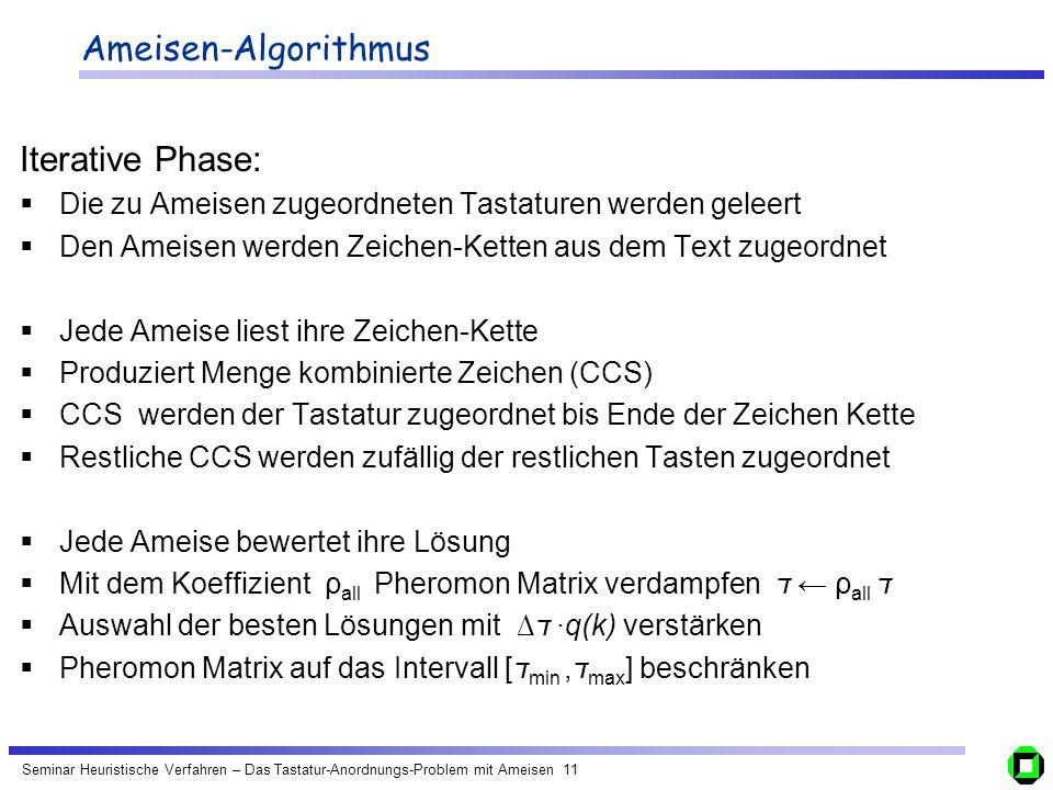 Seminar Heuristische Verfahren – Das Tastatur-Anordnungs-Problem mit Ameisen 11 Ameisen-Algorithmus Iterative Phase: Die zu Ameisen zugeordneten Tasta