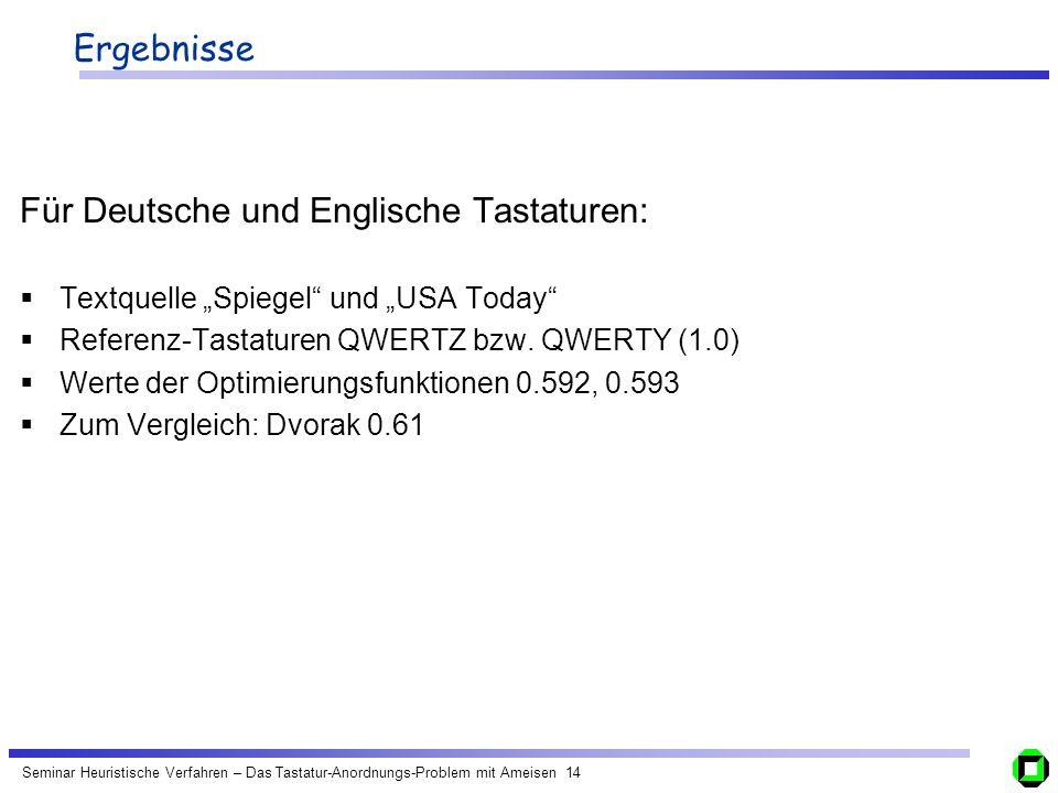 Seminar Heuristische Verfahren – Das Tastatur-Anordnungs-Problem mit Ameisen 14 Ergebnisse Für Deutsche und Englische Tastaturen: Textquelle Spiegel u