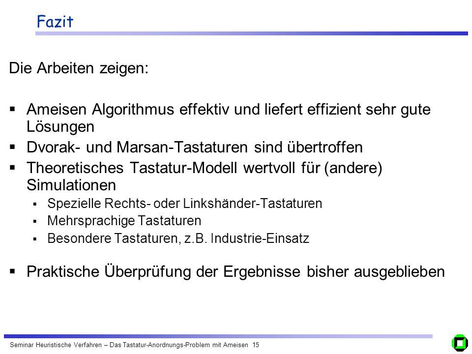 Seminar Heuristische Verfahren – Das Tastatur-Anordnungs-Problem mit Ameisen 15 Fazit Die Arbeiten zeigen: Ameisen Algorithmus effektiv und liefert ef