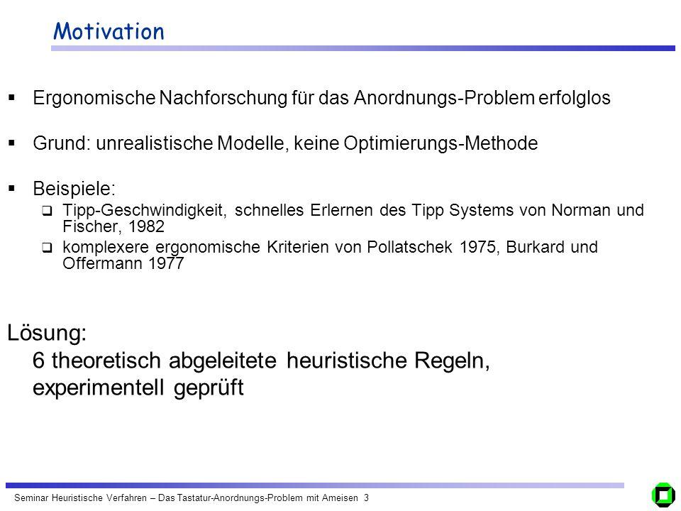 Seminar Heuristische Verfahren – Das Tastatur-Anordnungs-Problem mit Ameisen 4 Das Tastatur-Anordnungs-Problem Lösungs-Ansatz: Ein abstraktes Tastatur Modell definieren Eine Bewertungsfunktion (Optimierungsfunktion) definieren, basierend auf ergonomischen Regeln