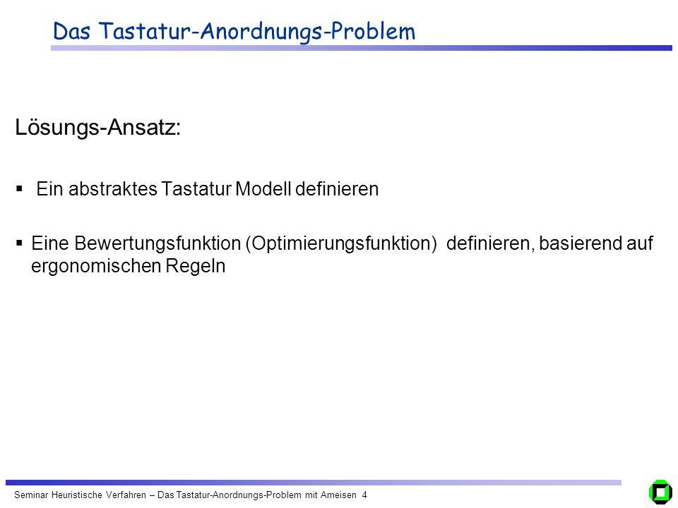 Seminar Heuristische Verfahren – Das Tastatur-Anordnungs-Problem mit Ameisen 4 Das Tastatur-Anordnungs-Problem Lösungs-Ansatz: Ein abstraktes Tastatur