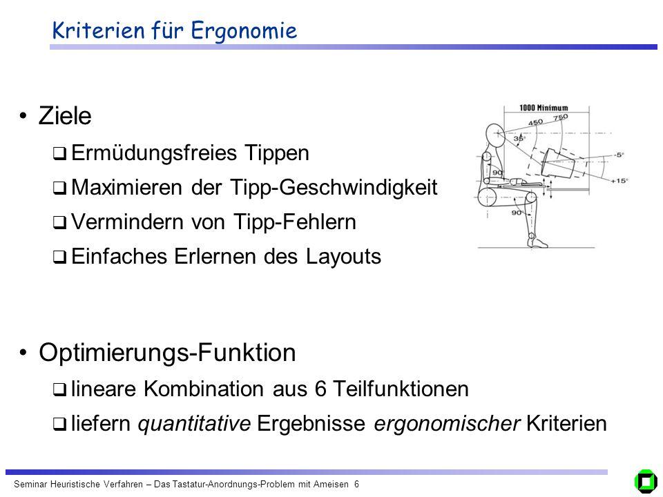 Seminar Heuristische Verfahren – Das Tastatur-Anordnungs-Problem mit Ameisen 6 Kriterien für Ergonomie Ziele Ermüdungsfreies Tippen Maximieren der Tip