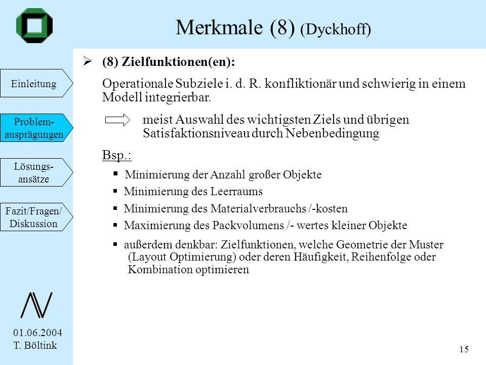01.06.2004 T. Böltink Einleitung Problem- ausprägungen Lösungs- ansätze Fazit/Fragen/ Diskussion 15 (8) Zielfunktionen(en): Operationale Subziele i. d