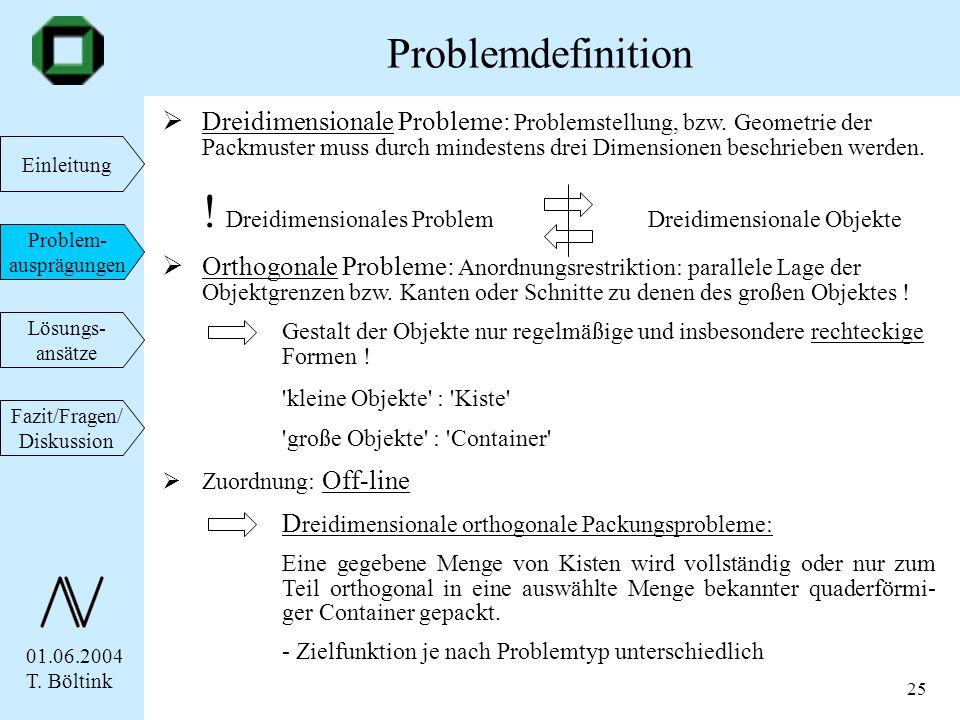 01.06.2004 T. Böltink Einleitung Problem- ausprägungen Lösungs- ansätze Fazit/Fragen/ Diskussion 25 Dreidimensionale Probleme: Problemstellung, bzw. G
