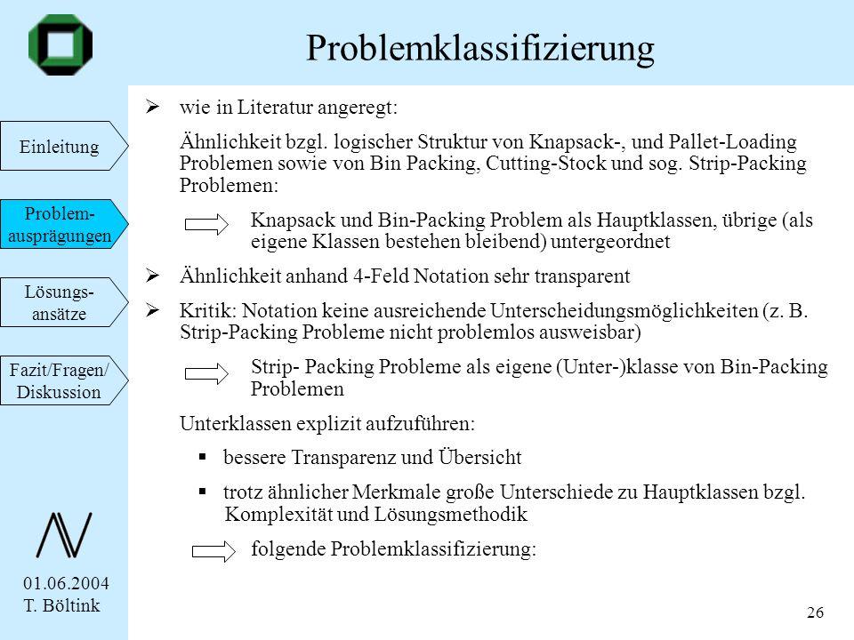 01.06.2004 T. Böltink Einleitung Problem- ausprägungen Lösungs- ansätze Fazit/Fragen/ Diskussion 26 wie in Literatur angeregt: Ähnlichkeit bzgl. logis