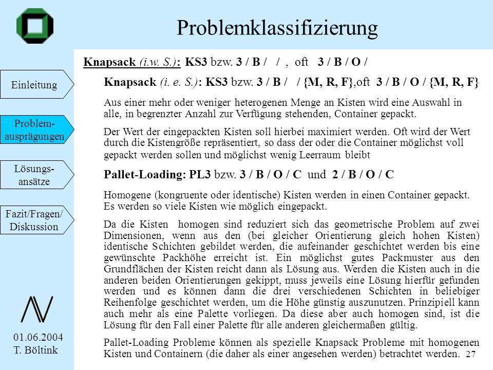 01.06.2004 T. Böltink Einleitung Problem- ausprägungen Lösungs- ansätze Fazit/Fragen/ Diskussion 27 Knapsack (i.w. S.): KS3 bzw. 3 / B / /, oft 3 / B